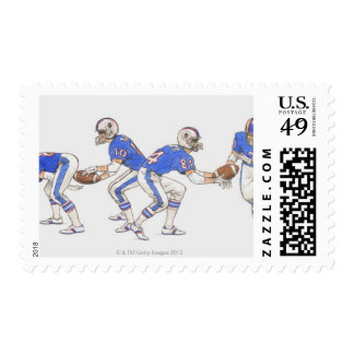 American football players demonstrating moves stamp