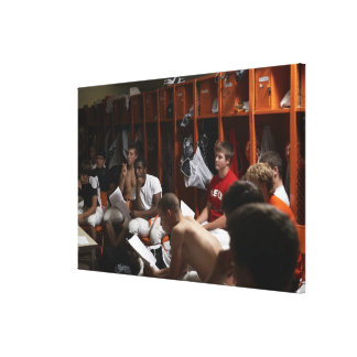 American football players including teenagers 2 canvas print