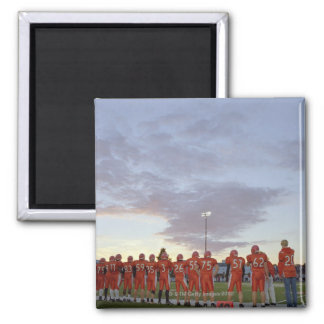 American football players including teenagers 2 inch square magnet
