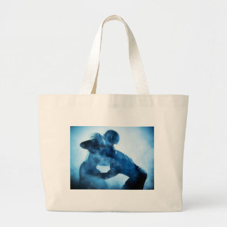 american-football-players-silhouette-one-portrait- large tote bag