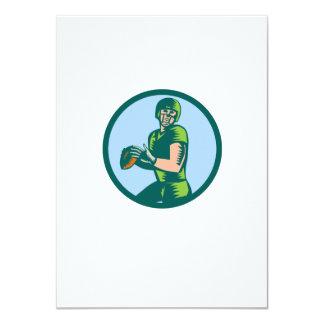 American Football QB Throwing Circle Woodcut 4.5x6.25 Paper Invitation Card