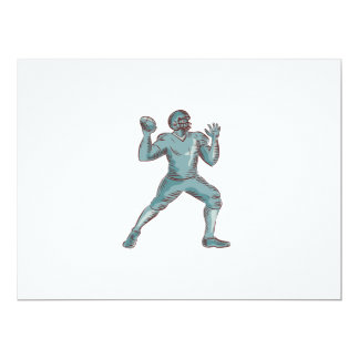 American Football QB Throwing Etching 6.5x8.75 Paper Invitation Card