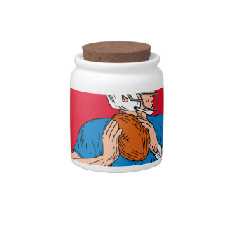 American Football Quarterback Ready Throw Ball Cir Candy Dish