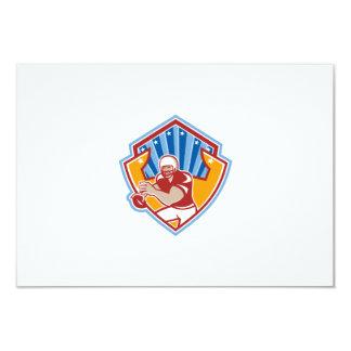 American Football Quarterback Star Shield 3.5x5 Paper Invitation Card