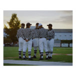 American football referees talking in field print