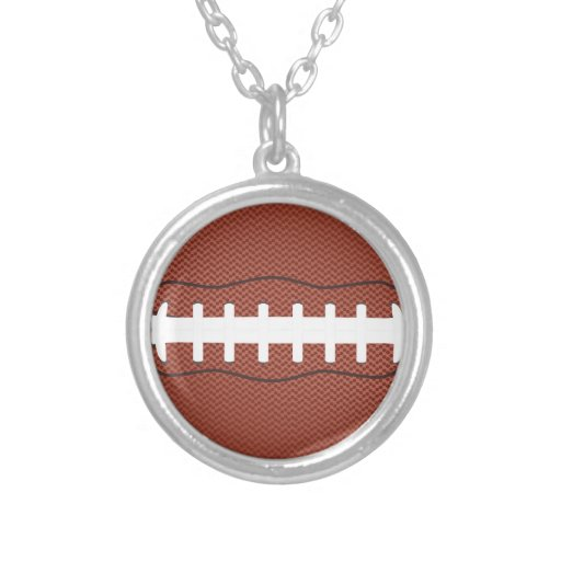 american football round pendant necklace