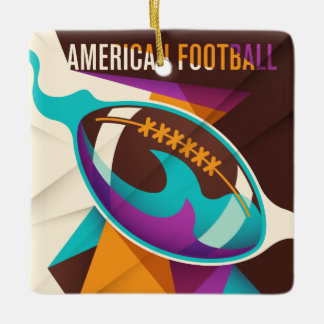 American Football Sport Ball Abstract Ceramic Ornament