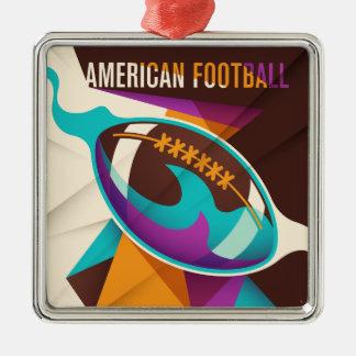 American Football Sport Ball Abstract Metal Ornament