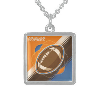 American Football Sport Ball Game Sterling Silver Necklace