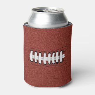 American Football Theme Faux Pigskin Laced Can Cooler