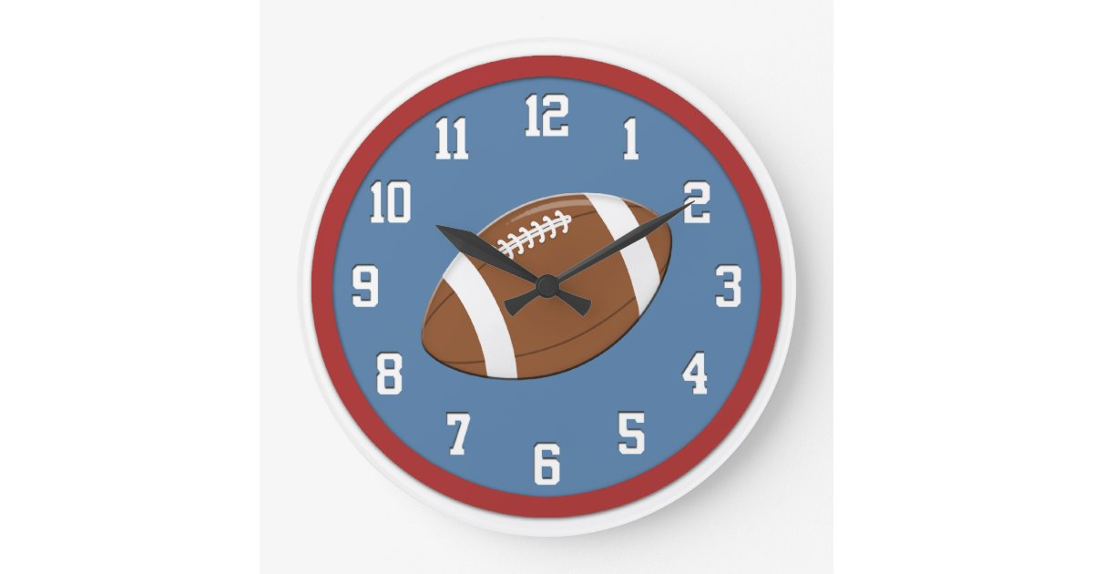 Football Design Wall Clock : American football wall clock zazzle