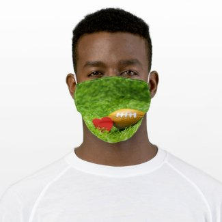 American Football with love  on green grass Adult Cloth Face Mask
