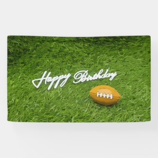 American Footballs are on green Soccer birthday Banner