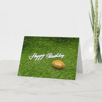 American Footballs are on green Soccer birthday Card