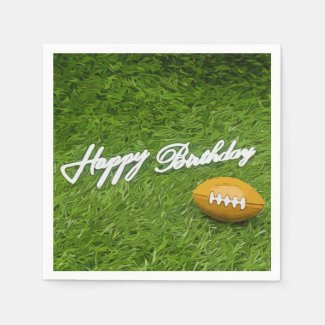 American Footballs are on green Soccer birthday Napkins