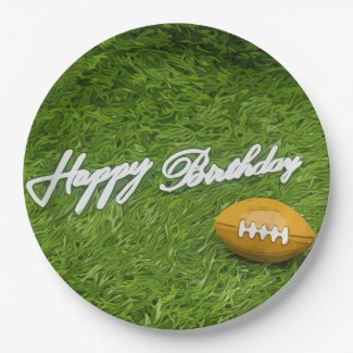 American Footballs are on green Soccer birthday Paper Plate