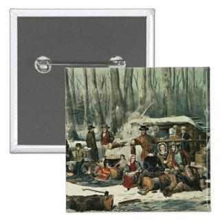 American Forest Scene - Maple Sugaring, 1856 2 Inch Square Button