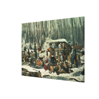 American Forest Scene - Maple Sugaring, 1856 Canvas Print