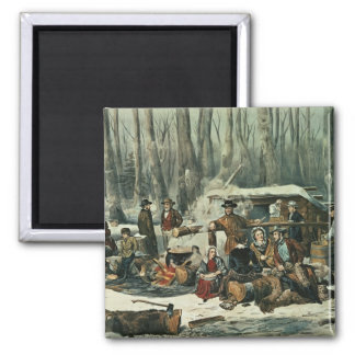 American Forest Scene - Maple Sugaring, 1856 Magnet