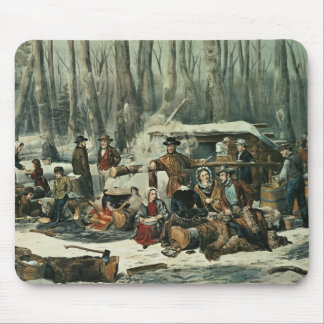 American Forest Scene - Maple Sugaring, 1856 Mouse Pad