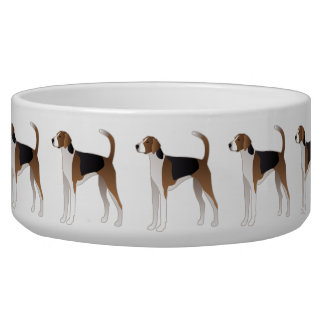 American Foxhound Basic Dog Breed Illustration Bowl