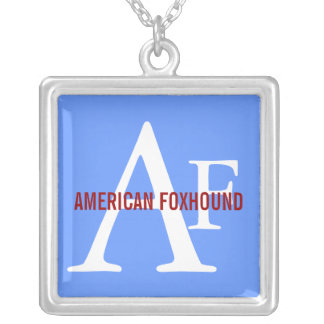 American Foxhound Breed Monogram Silver Plated Necklace