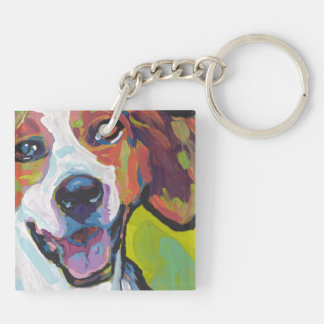 American Foxhound Bright Colorful Pop Dog Art Double-Sided Square Acrylic Keychain