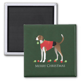 American Foxhound Christmas 2 Inch Square Magnet