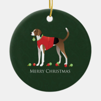 American Foxhound Christmas Ceramic Ornament