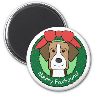 American Foxhound Christmas Magnet