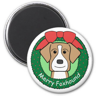 American Foxhound Christmas 2 Inch Round Magnet
