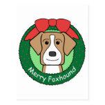 American Foxhound Christmas Postcard