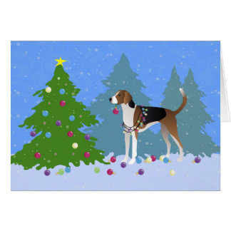American Foxhound decorating christmas tree-forest Card