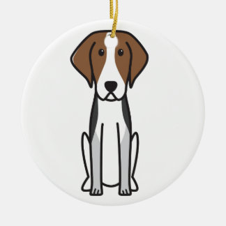 American Foxhound Dog Cartoon Ceramic Ornament