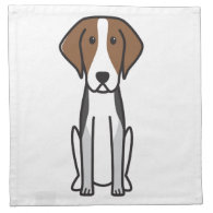 American Foxhound Dog Cartoon Cloth Napkin