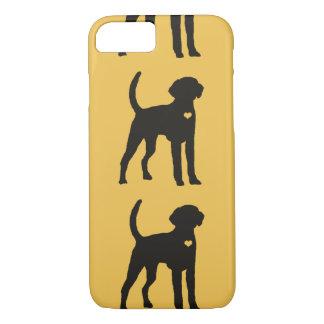 American Foxhound dog pop art heart silhouette iPhone 8/7 Case