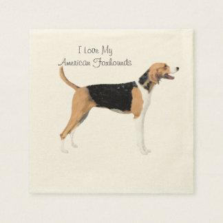 American Foxhound on Tan Leaves Napkin