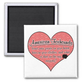 American Foxhound Paw Prints Dog Humor 2 Inch Square Magnet