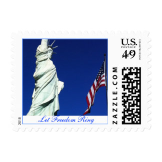 American Freedom Flag and Liberty Postage Stamps