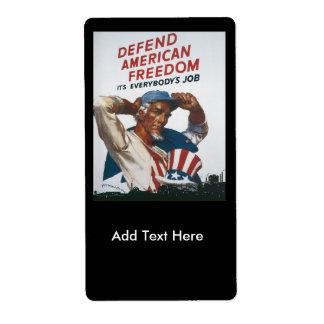 American Freedom World War 2 Label