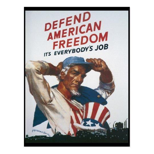 American Freedom World War 2 Postcard