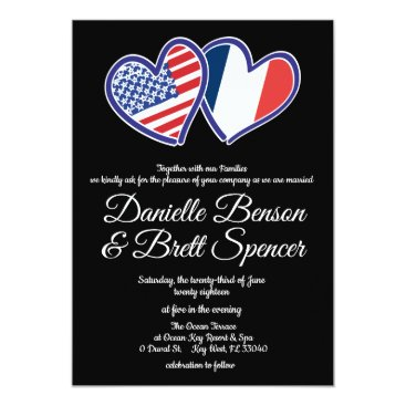 Wedding Themed American French Love Wedding Invitation