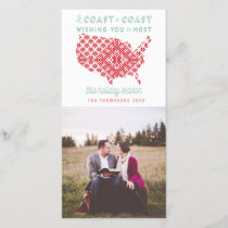 American From Coast to Coast Christmas Photo Holiday Card