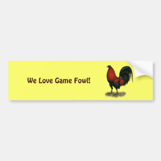 American Game BB Black Red Rooster Bumper Sticker