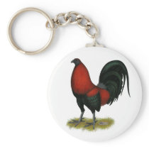 American Game BB Black Red Rooster Keychain