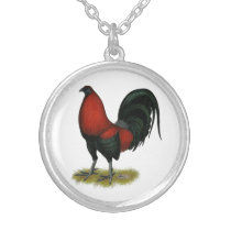 American Game BB Black Red Rooster Silver Plated Necklace