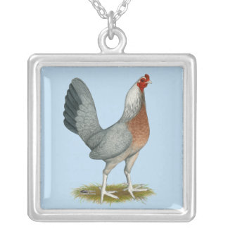 American Game Hen Silver Blue Silver Plated Necklace