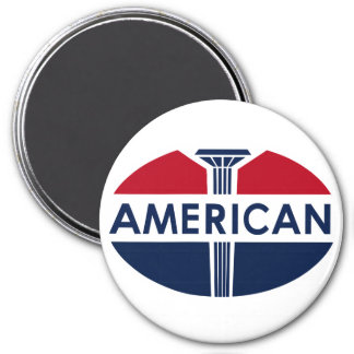 American Gas Station sign. Flat version 3 Inch Round Magnet