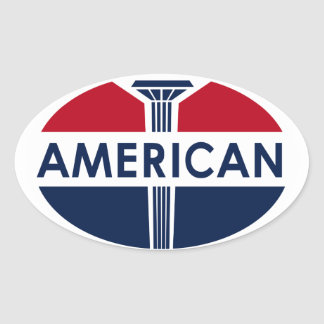 American Gas Station sign. Flat version Oval Sticker