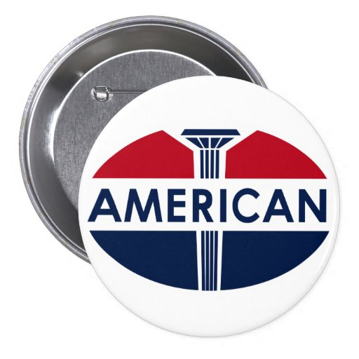 American Gas Station sign. Flat version Pinback Button